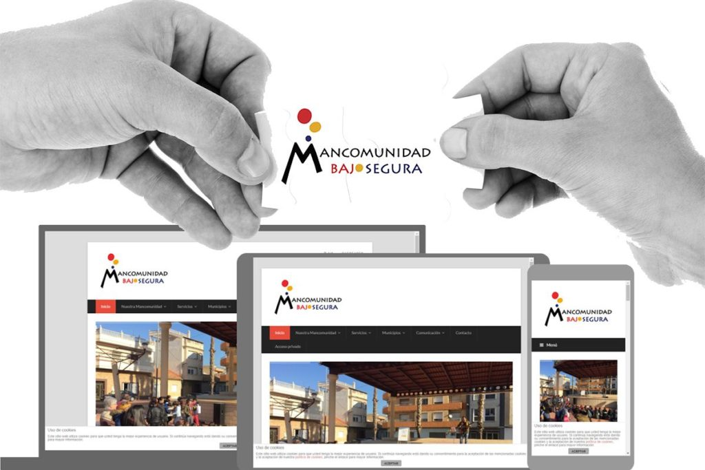 Montaje que muestra distintos dispositivos tecnológicos con la web de mancomunidad bajo segura en sus pantallas