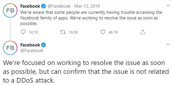 Tweet sobre la caída de Facebook