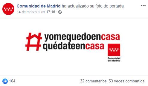 Captura imagen de portada de la cuenta de facebook de la cuenta de la comunidad de madrid. En ella se puede leer #yomequedoencasa y #quedateencasa