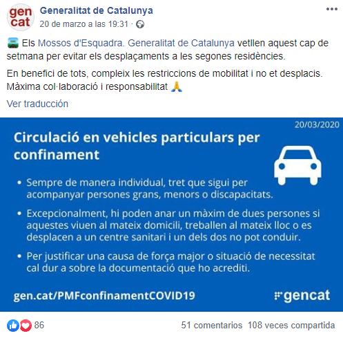 Captura de publicación del facebook de la generalitat de cataluña totalmente en catalán