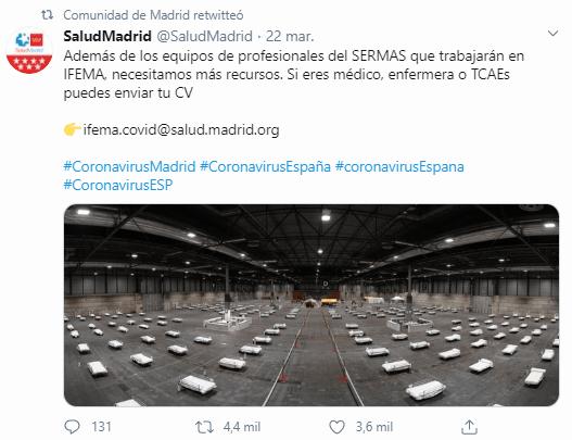 Captura del retweet al tweet de la cuenta de SaludMadrid epor la comunidad de Madrid