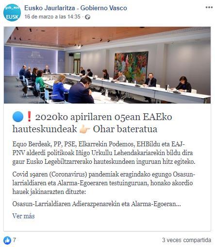 Publicación de Facebook con el gobierno vasco reunido